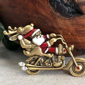 Vintage Danecraft Santa & Deer Motorcycle Brooch